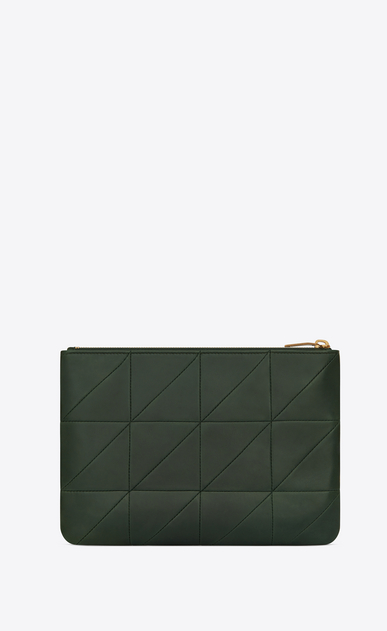 SAINT LAURENT Jamie SLG Woman Jamie pouch in dark green patchwork leather b_V4