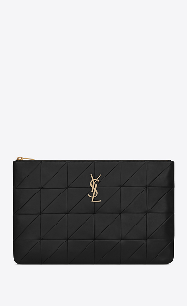 SAINT LAURENT Jamie SLG Woman Jamie document holder in black patchwork leather a_V4