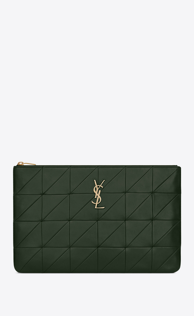 SAINT LAURENT Jamie SLG Woman Jamie document holder in dark green patchwork leather a_V4