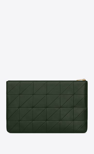 SAINT LAURENT Jamie SLG Woman Jamie document holder in dark green patchwork leather b_V4