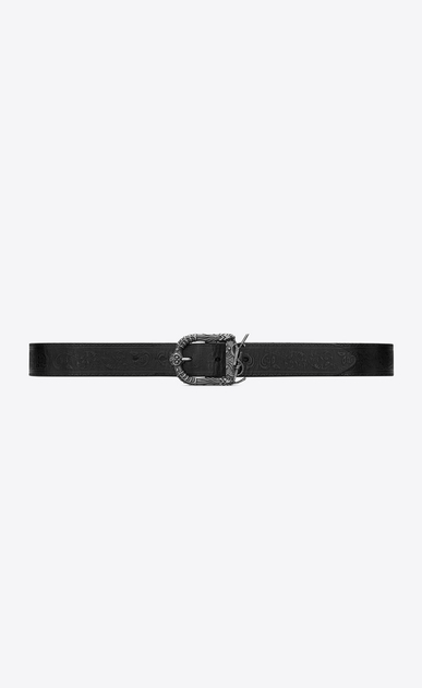 SAINT LAURENT Medium Belt Woman Monogram Celtic belt in embossed black leather a_V4