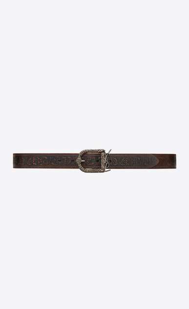 SAINT LAURENT Medium Belt Woman Monogram Celtic belt in brown vintage leather a_V4