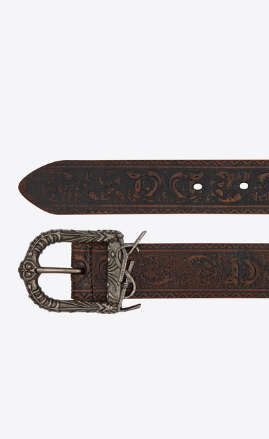 SAINT LAURENT Medium Belt Woman Monogram Celtic belt in brown vintage leather b_V4