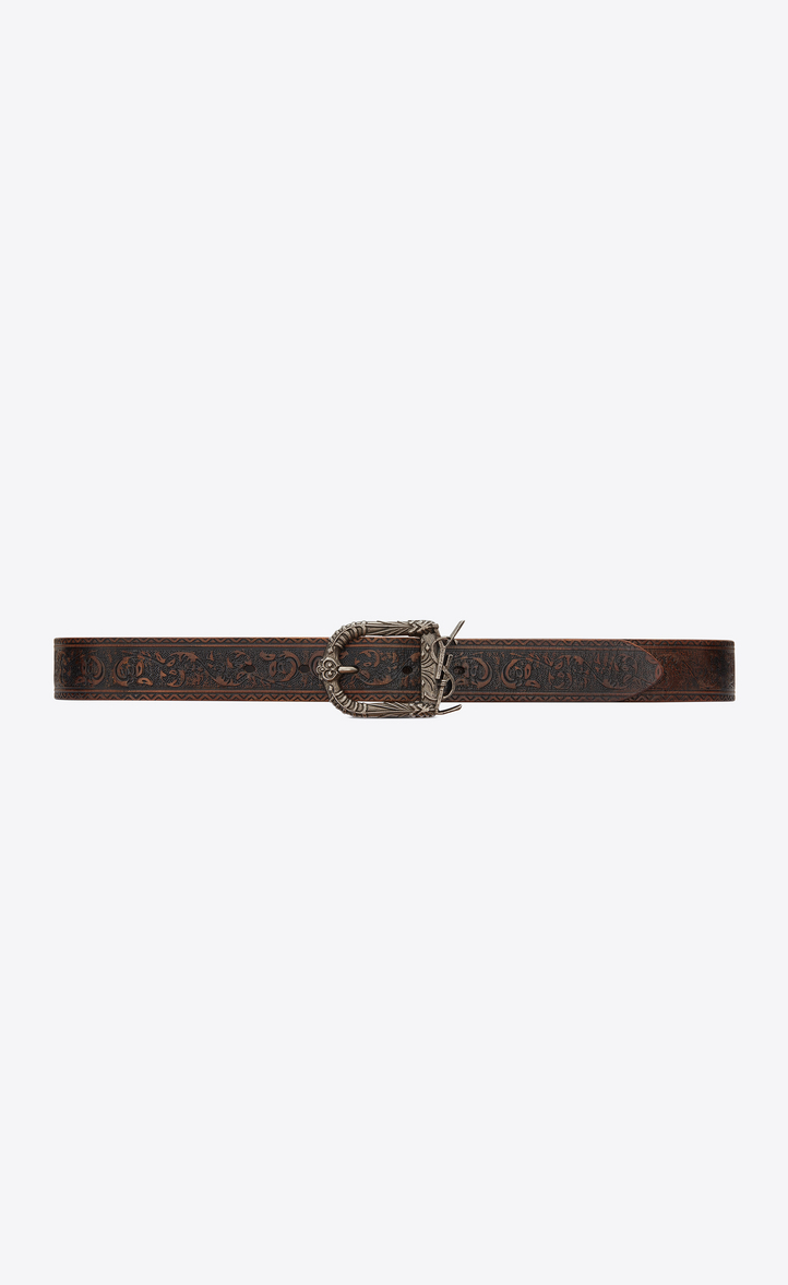 0456f01a8e034 Saint Laurent Monogram Celtic Belt In Brown Vintage Leather ...