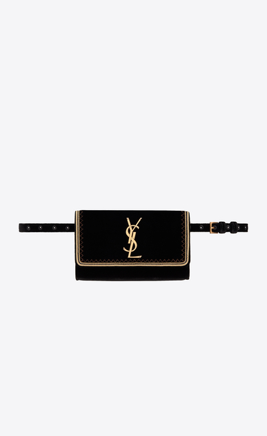 SAINT LAURENT Belt Bags Woman Kate belt bag in black velvet with gold passementerie a_V4