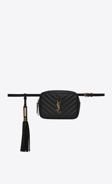 SAINT LAURENT Belt Bags Woman Lou belt bag in quilted black leather a_V4