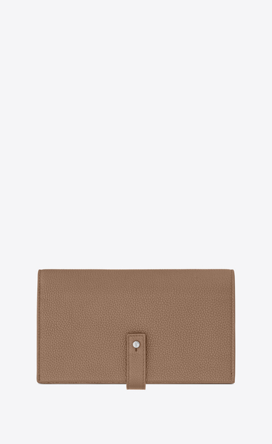 SAINT LAURENT Sac de jour SLG Woman Sac de Jour Souple thin wallet in dark beige grained leather a_V4