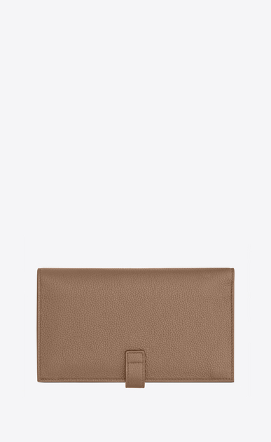 SAINT LAURENT Sac de jour SLG Woman Sac de Jour Souple thin wallet in dark beige grained leather b_V4