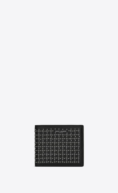 SAINT LAURENT SLP animation Man East/West wallet in leather and studs a_V4