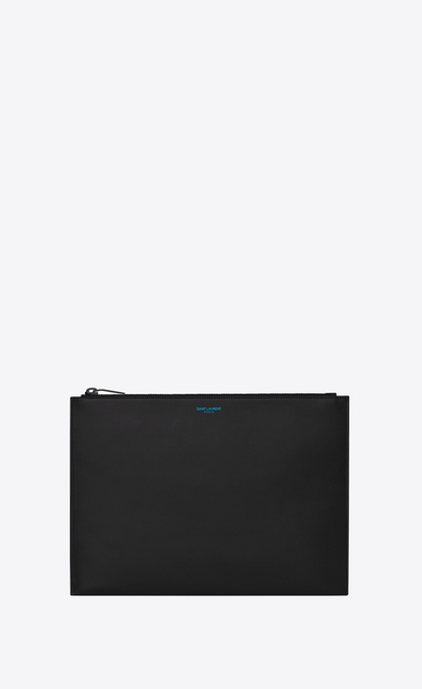 SAINT LAURENT SLP animation Uomo Saint Laurent Paris zippered tablet case in black leather a_V4