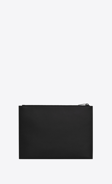 SAINT LAURENT SLP animation Uomo Saint Laurent Paris zippered tablet case in black leather b_V4