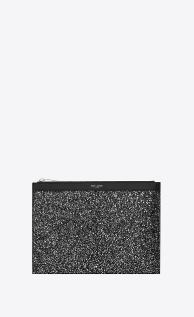 SAINT LAURENT SLP animation Uomo East/West Saint Laurent Paris tablet case in metallic black glitter a_V4