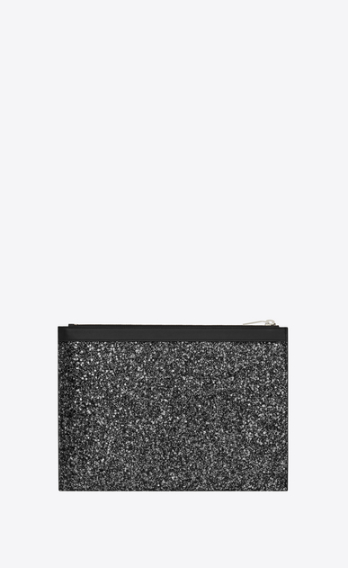 SAINT LAURENT SLP animation Uomo East/West Saint Laurent Paris tablet case in metallic black glitter b_V4