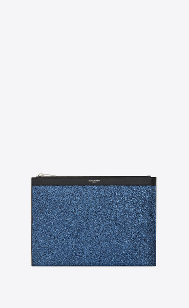 SAINT LAURENT SLP animation Herren Saint Laurent Paris Tablet-Etui aus metallic-blauem Glitzer a_V4