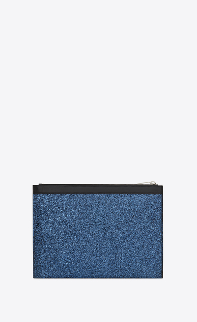 SAINT LAURENT SLP animation Herren Saint Laurent Paris Tablet-Etui aus metallic-blauem Glitzer b_V4