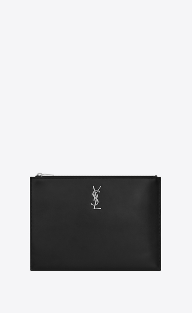 SAINT LAURENT Monogram SLG Uomo Monogram tablet case in black leather a_V4