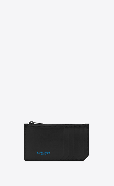 SAINT LAURENT SLP animation Man Five Fragments Saint Laurent Paris zippered pouch in black leather a_V4