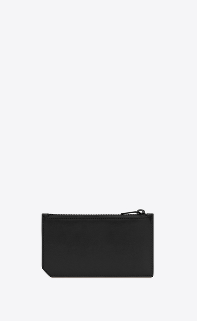 SAINT LAURENT SLP animation Man Five Fragments Saint Laurent Paris zippered pouch in black leather b_V4