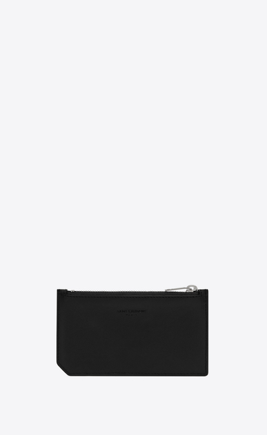 SAINT LAURENT SLP animation Man Smoking Forever zippered pouch in black leather b_V4