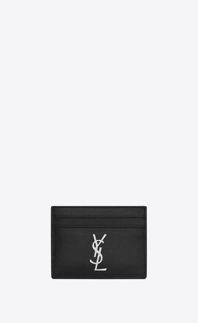SAINT LAURENT Monogram SLG Homme Porte-cartes MONOGRAMME en cuir noir a_V4