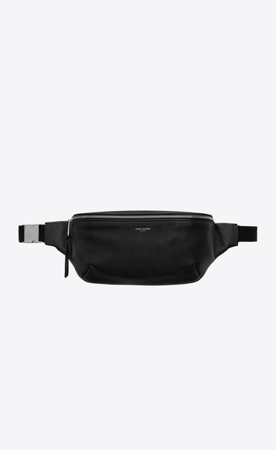 SAINT LAURENT Belt Bags Man Classic belt bag in soft black leather a_V4