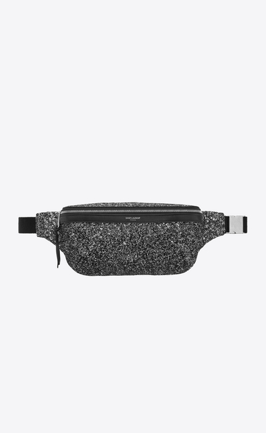 SAINT LAURENT Belt Bags Man Classic belt bag in metallic black glitter a_V4