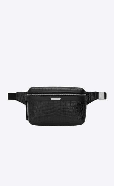 City belt bag in crocodile embossed leather
