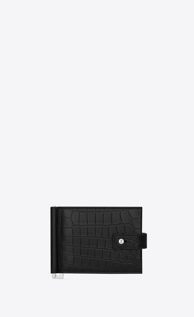 Sac de Jour wallet with bill clip in black crocodile embossed leather