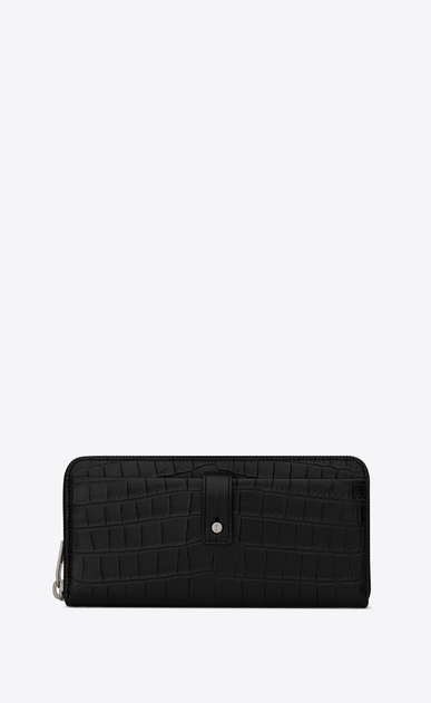 SAINT LAURENT Sac de jour SLG Man Sac de Jour zippered wallet in stamped crocodile leather a_V4