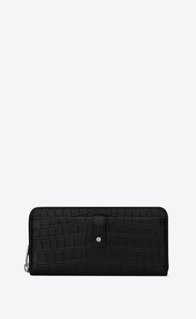 SAINT LAURENT Sac de jour SLG Man Sac de Jour zippered wallet in crocodile embossed leather a_V4