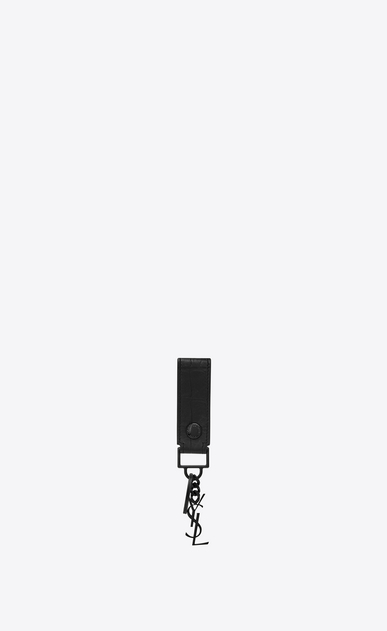 SAINT LAURENT Monogram SLG Man Monogram key ring in crocodile embossed leather a_V4