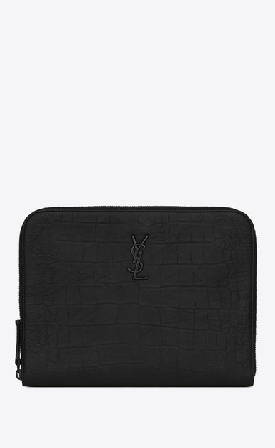 SAINT LAURENT Monogram SLG Uomo Monogram tablet case in black crocodile embossed leather a_V4