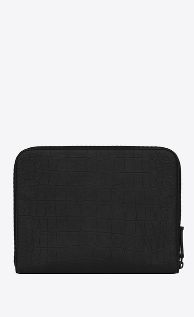 SAINT LAURENT Monogram SLG Uomo Monogram tablet case in black crocodile embossed leather b_V4