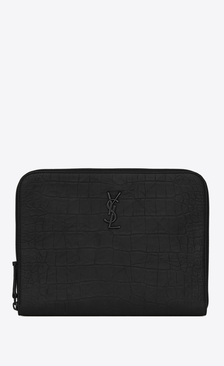 87b6e27f Monogram Tablet Holder In Stamped Crocodile Leather, Black