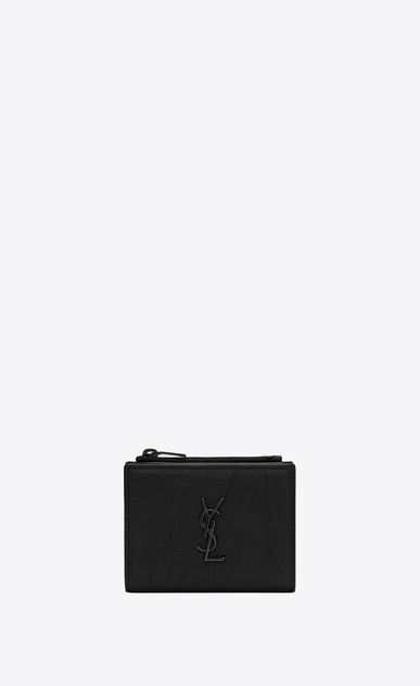 SAINT LAURENT Monogram SLG Man Monogram zipped business card case in stamped crocodile leather a_V4