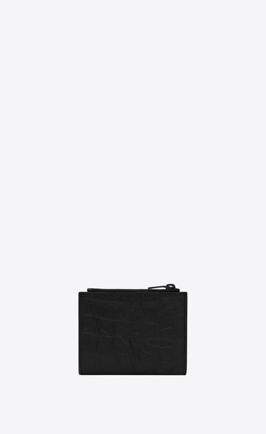 SAINT LAURENT Monogram SLG Homme Porte-cartes zippé MONOGRAMME en cuir embossé façon crocodile noir b_V4