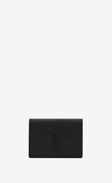 Monogram business card case in crocodile embossed leather