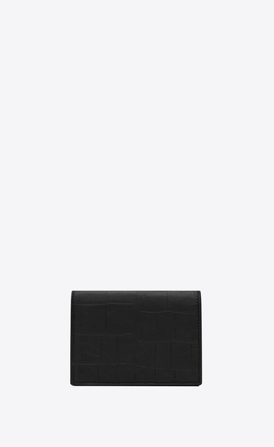 SAINT LAURENT Monogram SLG Man Monogram business card case in stamped crocodile leather b_V4