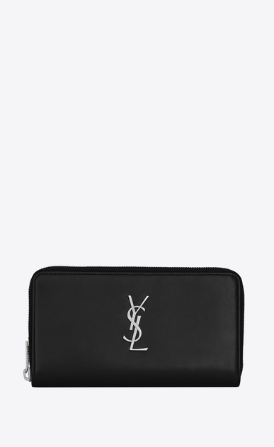 SAINT LAURENT Monogram SLG Man monogram zip wallet in smooth leather a_V4