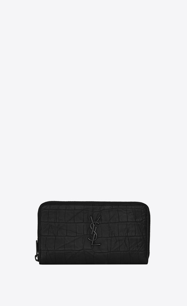SAINT LAURENT Monogram SLG Man Large Monogram zippered wallet in black crocodile embossed leather a_V4