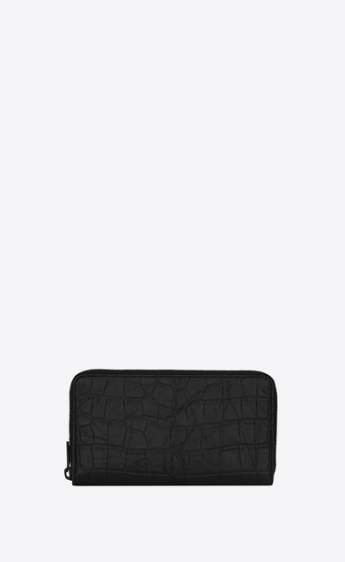 SAINT LAURENT Monogram SLG Man Large Monogram zippered wallet in black crocodile embossed leather b_V4