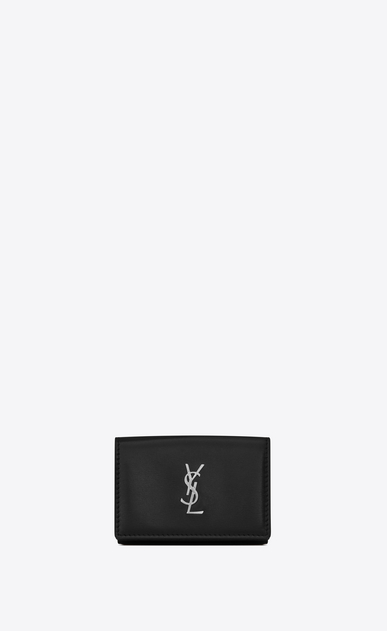 SAINT LAURENT Monogram SLG Herren petite Monogramme Portemonnaie aus schwarzem Leder a_V4