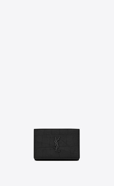 SAINT LAURENT Monogram SLG Man Monogram tiny wallet in stamped crocodile leather a_V4