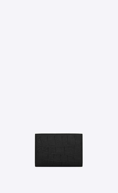 SAINT LAURENT Monogram SLG Man Monogram tiny wallet in stamped crocodile leather b_V4