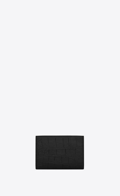 SAINT LAURENT Monogram SLG Homme Petit portefeuille MONOGRAMME en cuir embossé façon crocodile noir b_V4
