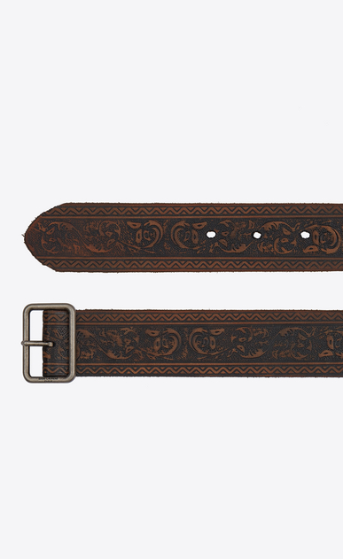 SAINT LAURENT Cinture Classiche Uomo Belt with porthole buckle in dark brown embossed leather b_V4
