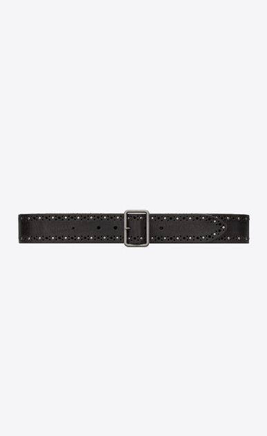 Studded belt with porthole buckle in vintage black leather