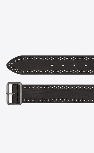 SAINT LAURENT Cinture Classiche Uomo Studded belt with porthole buckle in vintage black leather b_V4