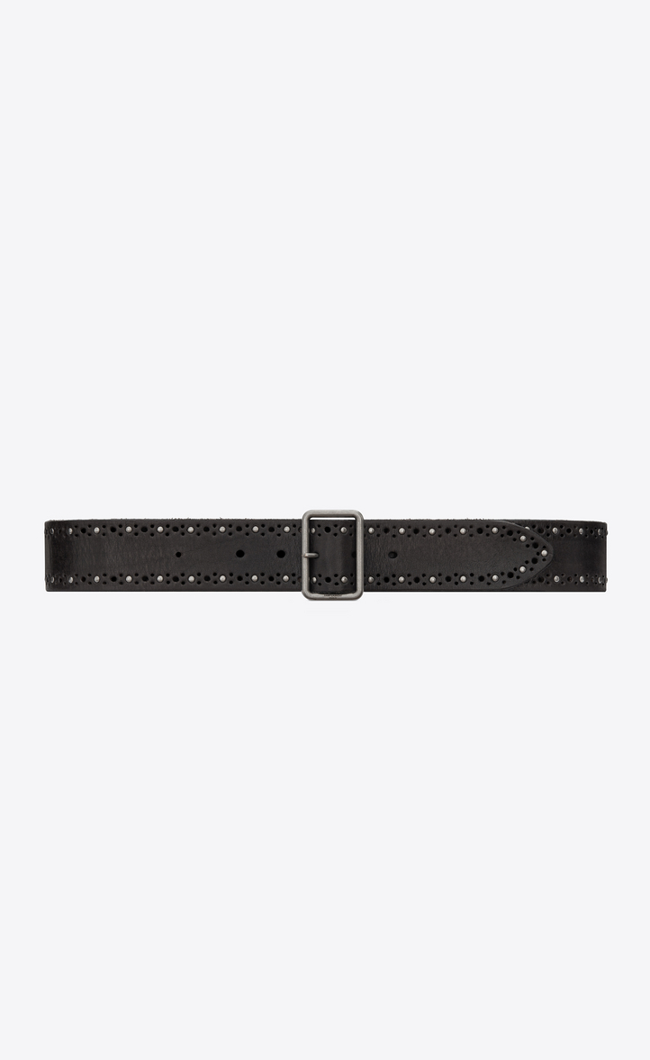 Studded belt with porthole buckle in vintage black leather