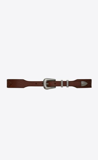 SAINT LAURENT Classic Belts Man Folk double-loop belt in dark brown leather a_V4